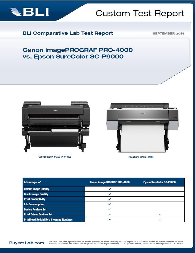 BLI Canon PRO-4000 vs Epson SC P9000